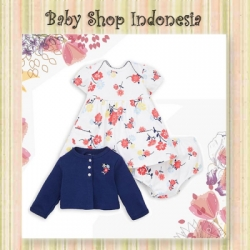 Dress Cardigan Bayi Navy Flower  large