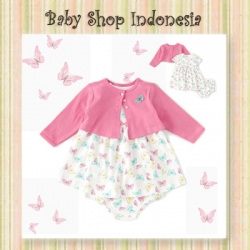 Dress Cardigan Bayi Pink Butterfly  large