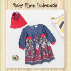Dress Denim Gamis Anak Merah  large