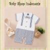 LJ152 Jumpsuit Bayi Import Jumpsuit Bayi Laki laki Overall like Salur Putih  medium
