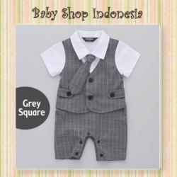 LJ176 Jumpsuit Pesta Bayi Laki laki Tuksedo Bayi Import Long Tie Grey Square  large