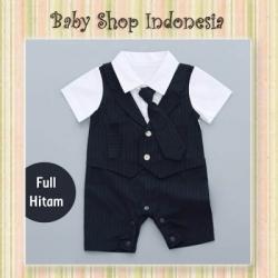 LJ180 Jumpsuit Tuksedo Bayi Murah Baju Pesta Bayi Laki laki Romper Pesta Bayi Cowok Import Long Tie Full Black  large