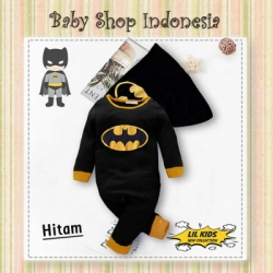 LJ182 Jumpsuit Bayi Superhero Black Baju Bayi Superhero Kostum Bayi Superhero Black  large