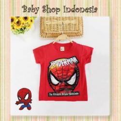 LK154 kaos spiderman led merah  large