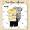 LU549 Setelan Baju Bayi Import 3in1 Jumpsuit Bayi Tshirt Anak Branded Yellow Excavator  medium