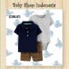 LU550 Setelan Baju Bayi Import 3in1 Jumpsuit Bayi Kaos Kerah Anak Branded Navy Grey Salur  medium