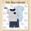 LU551 Setelan Baju Bayi Import 3in1 Jumpsuit Bayi Tshirt Anak Branded Blue Cute Sloth  medium