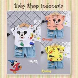 LU648 Setelan Baju Anak Import Kaos Anak Mickey Mouse Celana Pendek Jeans Anak Import  large
