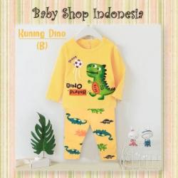 LU661 Piyama Anak Laki laki Import Baju Tidur Anak Cowok Football Dino Yellow  large