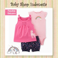PU599 Setelan Baju Bayi Import 3in1 Jumpsuit Bayi Tshirt Anak Branded Fuschia Unicorn  large