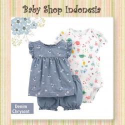 PU600 Setelan Baju Bayi Import 3in1 Jumpsuit Bayi Tshirt Anak Branded Denim Chrysant  large