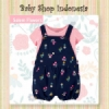 PU603 Setelan Kaos dan Overall Celana Anak Import Salem Navy Flowers  medium