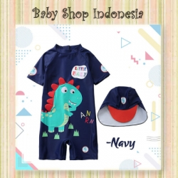 W089 Baju Renang Anak Laki laki Navy Blue Little Baby Dino Swimsuit Diving Anak Import Dinosaurus  large