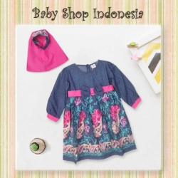 large Dress Denim Gamis Anak pink