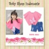 setelan denim pink  medium