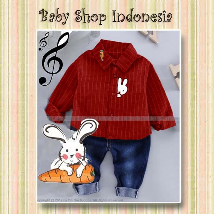 Setelan Anak Import Murah Setelan Kemeja Anak Setelan Celana Jeans Anak Setelan Baju Anak Red Bunny